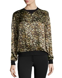 Philosophy Di Alberta Ferretti Ribbed Printed Silk Blouse Green Multi