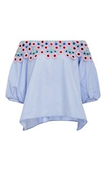 Peter Pilotto Pallas Cotton Lace Blouse Light Blue