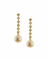 Belpearl 18K Yellow Sapphire And South Sea Pearl Dangle Earrings