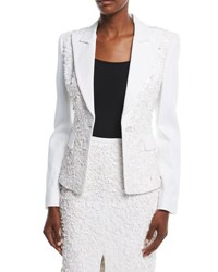 Michael Kors Floral Embroidered One Button Tailored Blazer White