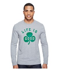 Life Is Good Shamrock Long Sleeve Crusher Tee Heather Gray Men's T Shirt