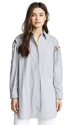 Edition10 Lace Up Tunic Grey White