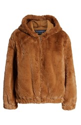 French Connection Arabella Faux Shearling Jacket Dark Camel