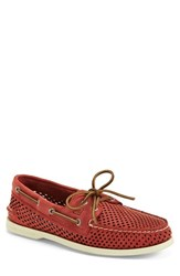 Men's Sperry 'Authentic Original' Perforated Leather Boat Shoe Red