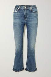 Citizens Of Humanity Demy Cropped High Rise Flared Jeans Mid Denim