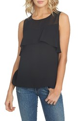 1.State Women's Sheer Yoke Ruffle Tank Rich Black