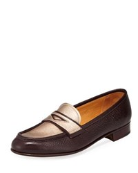 Gravati Leather Penny Loafer With Metallic Plug Red Gold