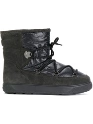 Moncler Classic Snow Boots Suede Nylon Wool Rubber Grey