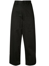 Y's Cropped Wide Trousers Black