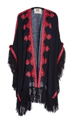 Figue Fringe Embroidered Iris Shawl Navy
