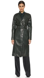 Jason Wu Belted Leather Trench Emerald