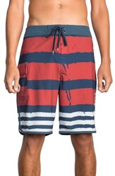 Rvca Men's Big And Tall Scalloped Swim Trunks Red White Blue