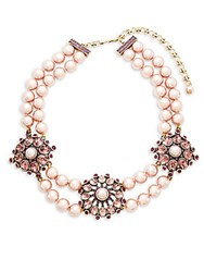 Heidi Daus Simulated Faux Pearl And Crystal Triple Station Beaded Necklace No Color
