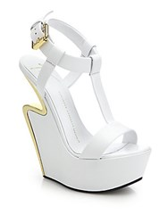 Giuseppe Zanotti Metal Trimmed Cutout Wedge Leather Sandals White