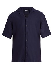 Sunspel Short Sleeved Cotton Shirt Navy