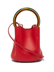 Marni Pannier Leather Bucket Bag Red Multi