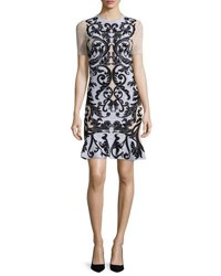 Alexander Mcqueen Printed Lace Short Sleeve Dress Black Cameo Lilac Blue Pattern