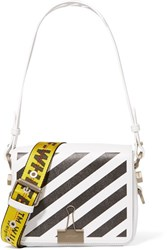 Off White Printed Leather Shoulder Bag One Size White