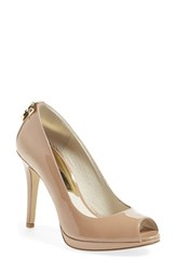 Women's Michael Michael Kors 'Hamilton' Peep Toe Pump Nude Patent Leather