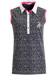 Green Lamb Freda Sleeveless Printed Polo Navy