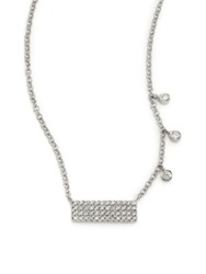 Meira T Diamond And 14K White Gold Bar Pendant Necklace