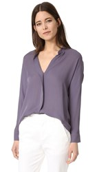 Vince Double Front Silk Blouse Plum