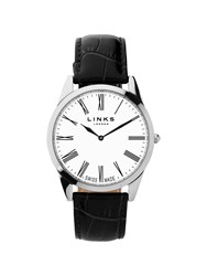 Links Of London Noble Mens Slim Black Leather Watch Black
