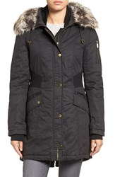 French Connection Women's Mixed Media Parka With Faux Fur Trim Hood