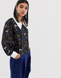 Sister Jane Blouse With Oversized Collar In Jungle Print Jungle Print Multi