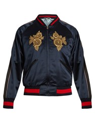 Gucci Floral Embroidered Satin Bomber Jacket Navy Multi