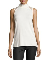 1.State Sleeveless Mock Neck Top White