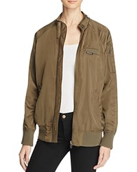 Members Only Satin Boyfriend Bomber Jacket Olive