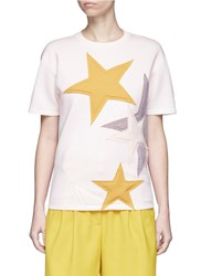 Stella Mccartney Padded Star Applique Bonded Jersey T Shirt Multi Colour