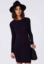 Missguided Long Sleeve Jersey Bodycon Dress Navy Blue