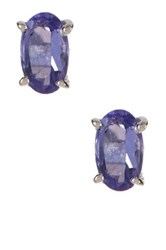 Olivia Leone Sterling Silver Oval Cut Tanzanite Stud Earrings Purple