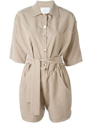 Carolinaritz Belted Shortsleeved Playsuit Nude And Neutrals