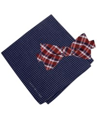 Tommy Hilfiger Men's Grid Pre Tied Bow Tie And Dot Pocket Square Set Navy