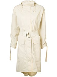 Elizabeth And James Gathered Sleeves Hooded Coat Nude Neutrals