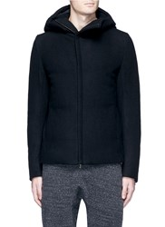 Attachment Asymmetric Zip Down Padded Wool Cashmere Coat Black