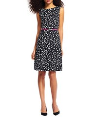 Adrianna Papell Petite Free Dot Printed Cotton Faille Dress Black Ivory
