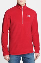 The North Face Men's 'Tka 100 Glacier' Quarter Zip Fleece Pullover Tnf Red
