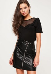Missguided Petite Exclusive Black Mesh Panel T Shirt