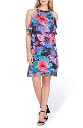 Tahari Sleeveless Floral Ruffle Chiffon Dress Black Red Aqua