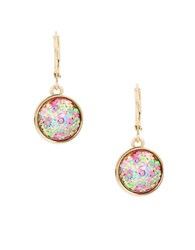 Betsey Johnson Buzz Off Glitter Round Drop Earrings No Color