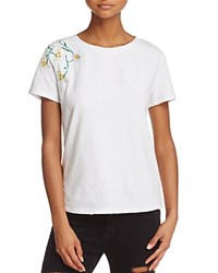 Honey Punch Daisy Embroidered Tee White
