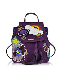 Marc Jacobs Patched Purple Suede Zip Backpack