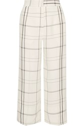 Protagonist Checked Twill Wide Leg Pants Ivory