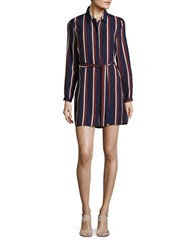 Glamorous Striped Shirtdress Navy Burgundy
