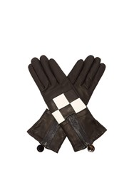Agnelle Argi Leather Checkerboard Gloves Black