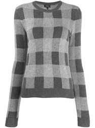 Theory Checked Cashmere Jumper Grey